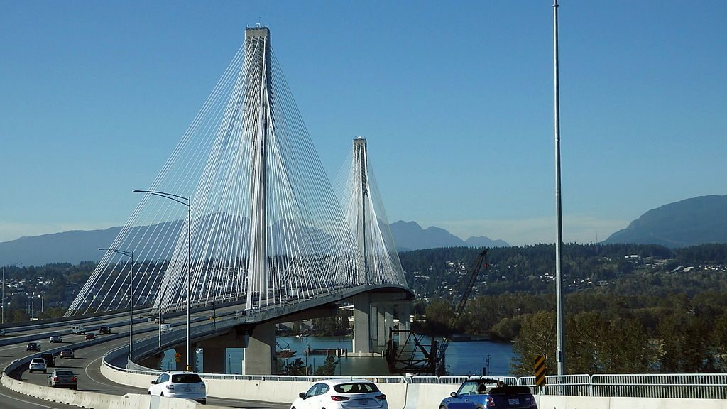 The Port Mann cable-stayed bridge.