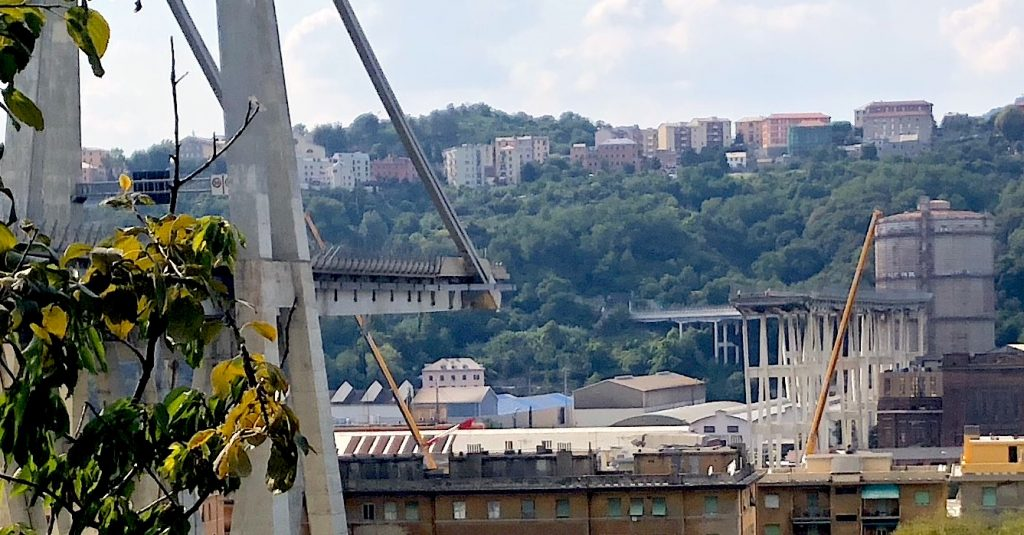 The Ponte Morandi bridge afte the collapse.